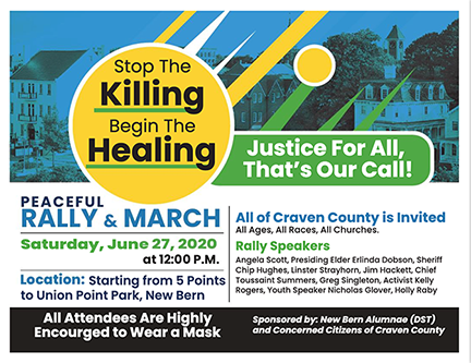 Stop The Killing-Begin the Healing: Peace Rally. Jun 27, 2020 at 12:00p. New Bern's Union Point Park.